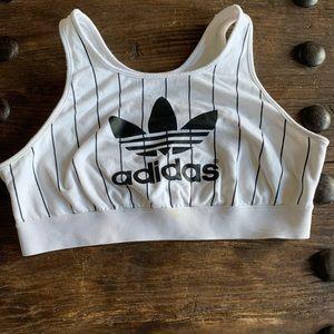 Adidas sports bra black and white striped